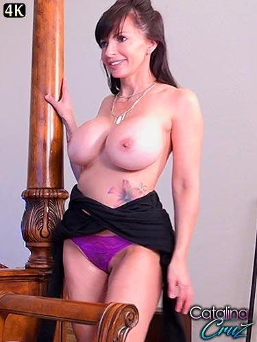 Catalina Cruz fucking a huge black dildo and oiling up her beautiful body