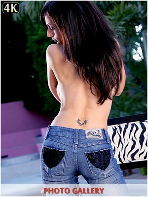 Catalina Cruz hot babe topless outside with blue jeans on