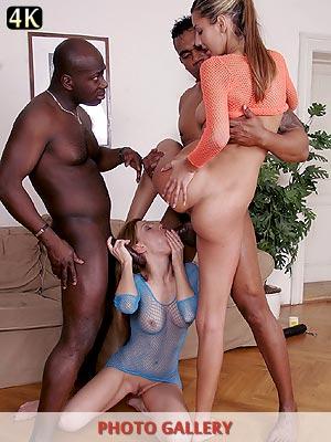 Interracial foursome Kitty Jane and Olga Barz anal sex fucking