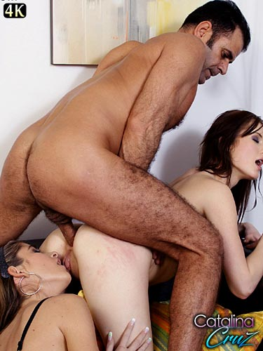 Theodora Ferreri and Nessa Devil fucking a dick during anal threeway