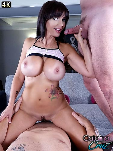 Catalina Cruz fucking 2 hard dicks during live webcam threeway