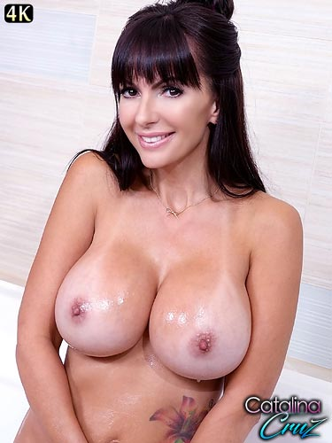 Catalina Cruz oiled up huge tits jiggling while played with