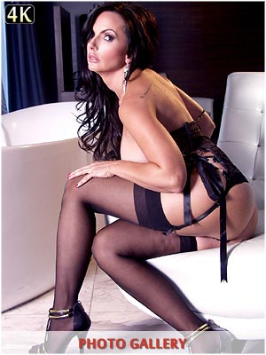 Catalina Cruz in sexy black nylons and lingerie